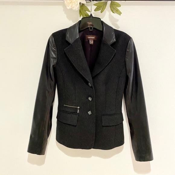 Danier Wool Blazer with Leather Sleeves